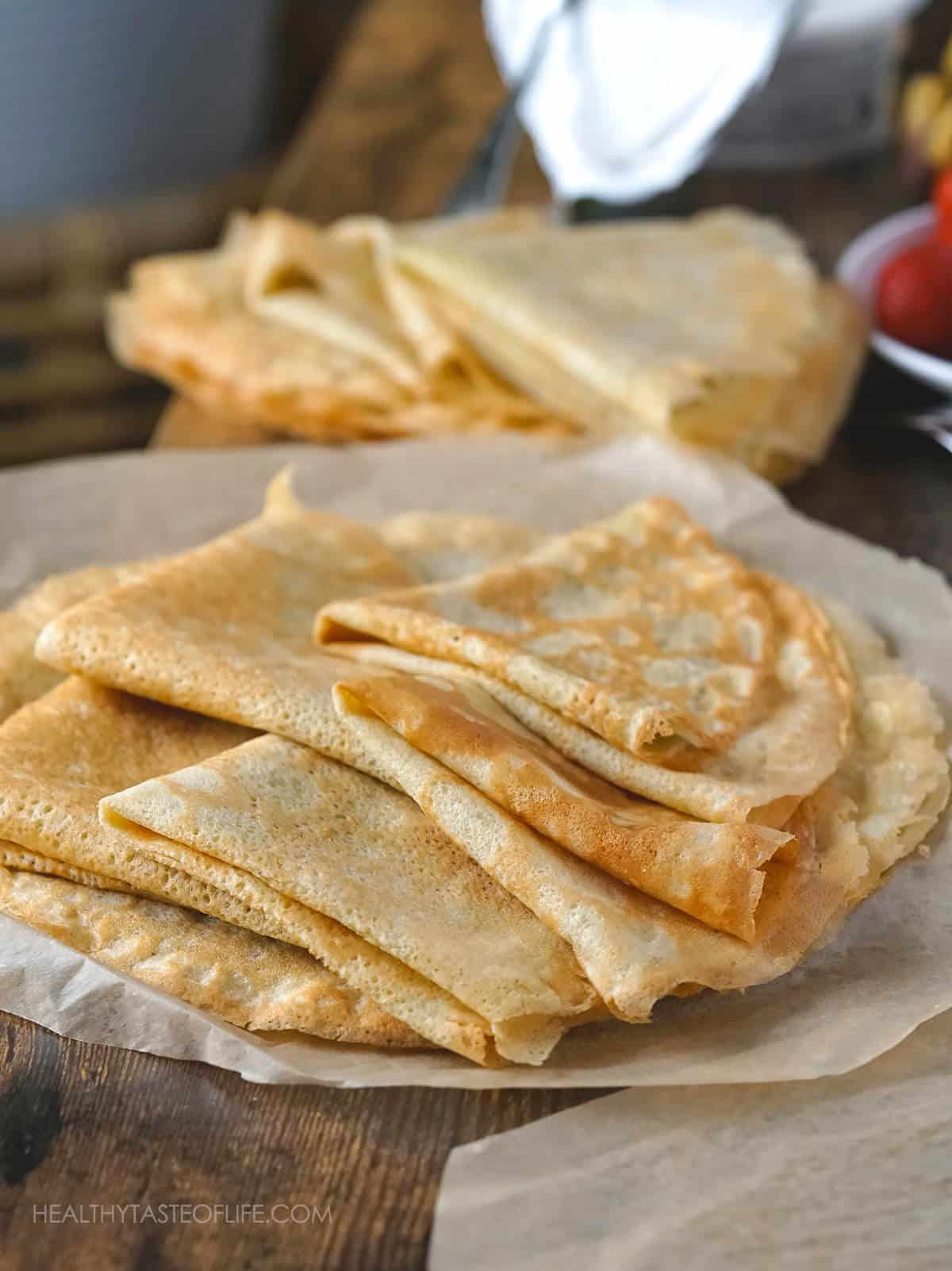 These easy healthy gluten free crepes are made in a blender and can be served sweet or savory.