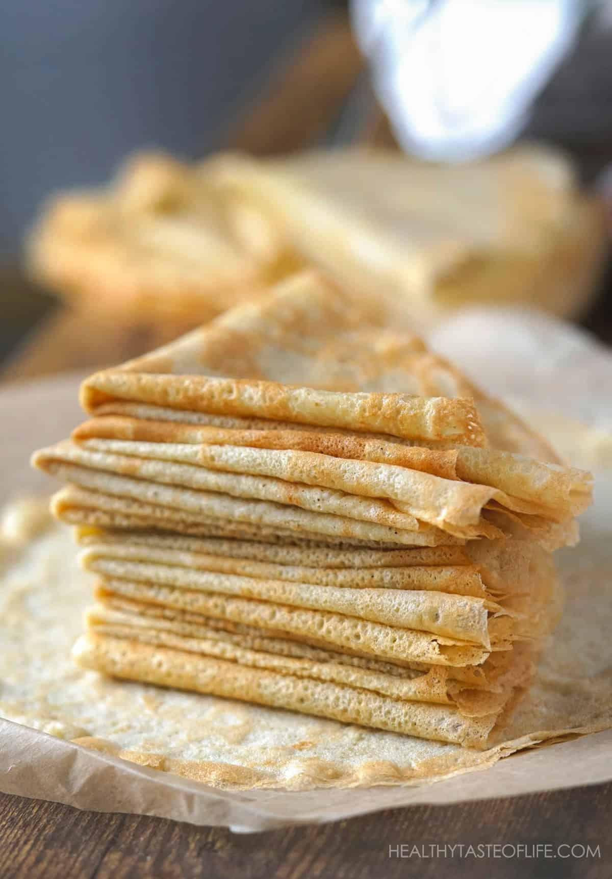 Gluten Free crepes stacked.