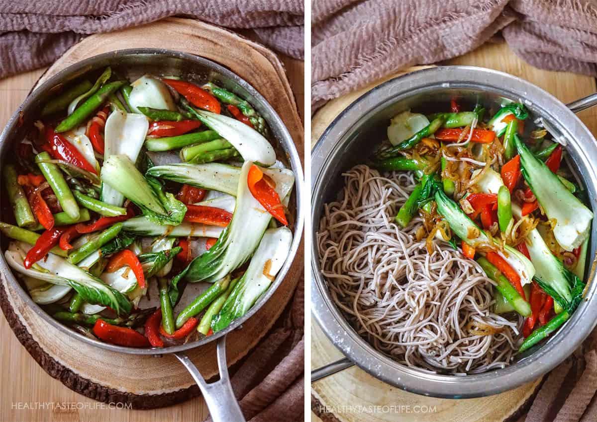 Cooked soba noodles with stir fries vegetables - vegan gluten free.