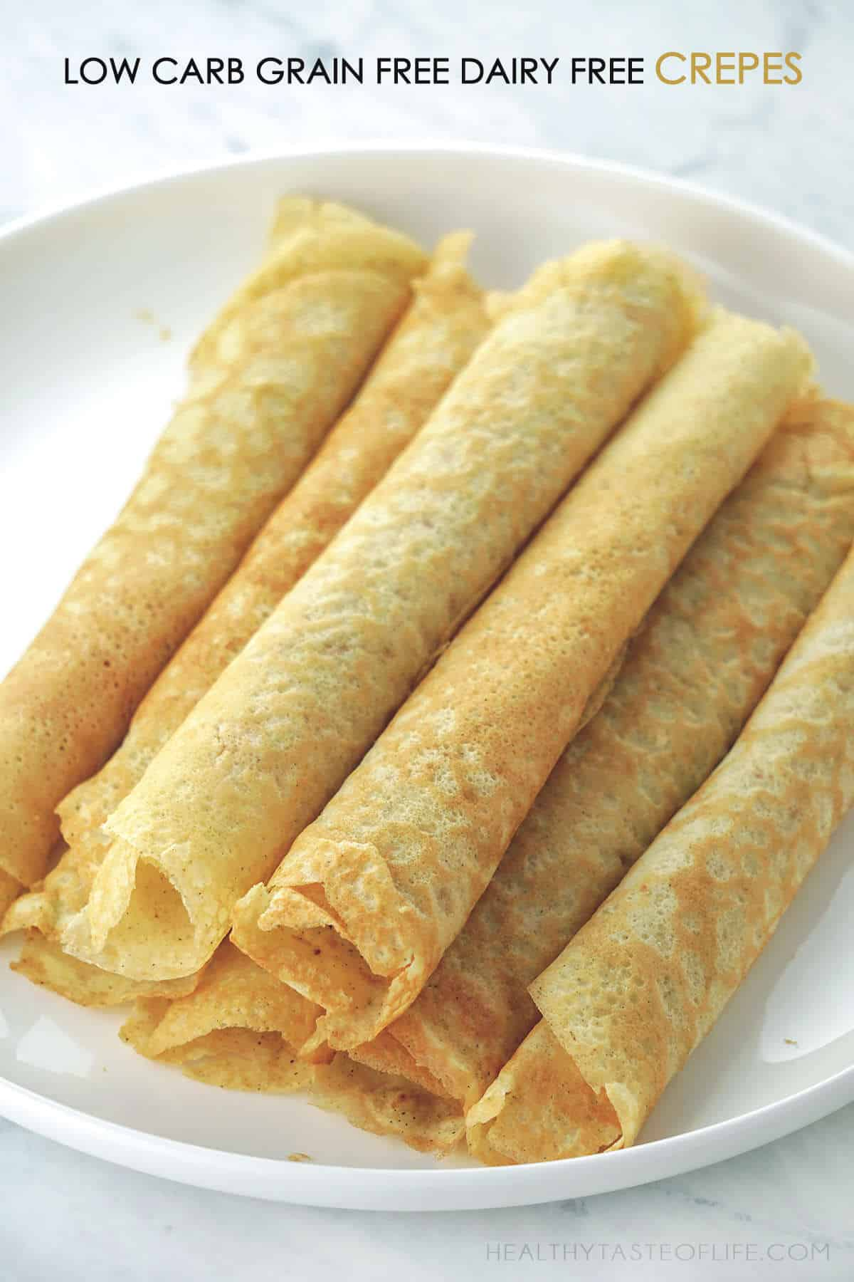 Keto Low carb grain free crepes with almond flour and banana flour, also dairy free gluten free and paleo friendly.