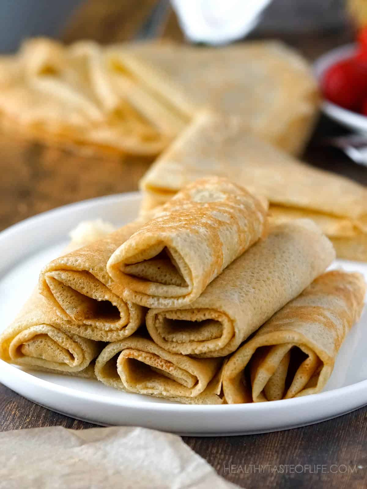 Thin pliable gluten free crepes rolled - how to make gluten free crepes.