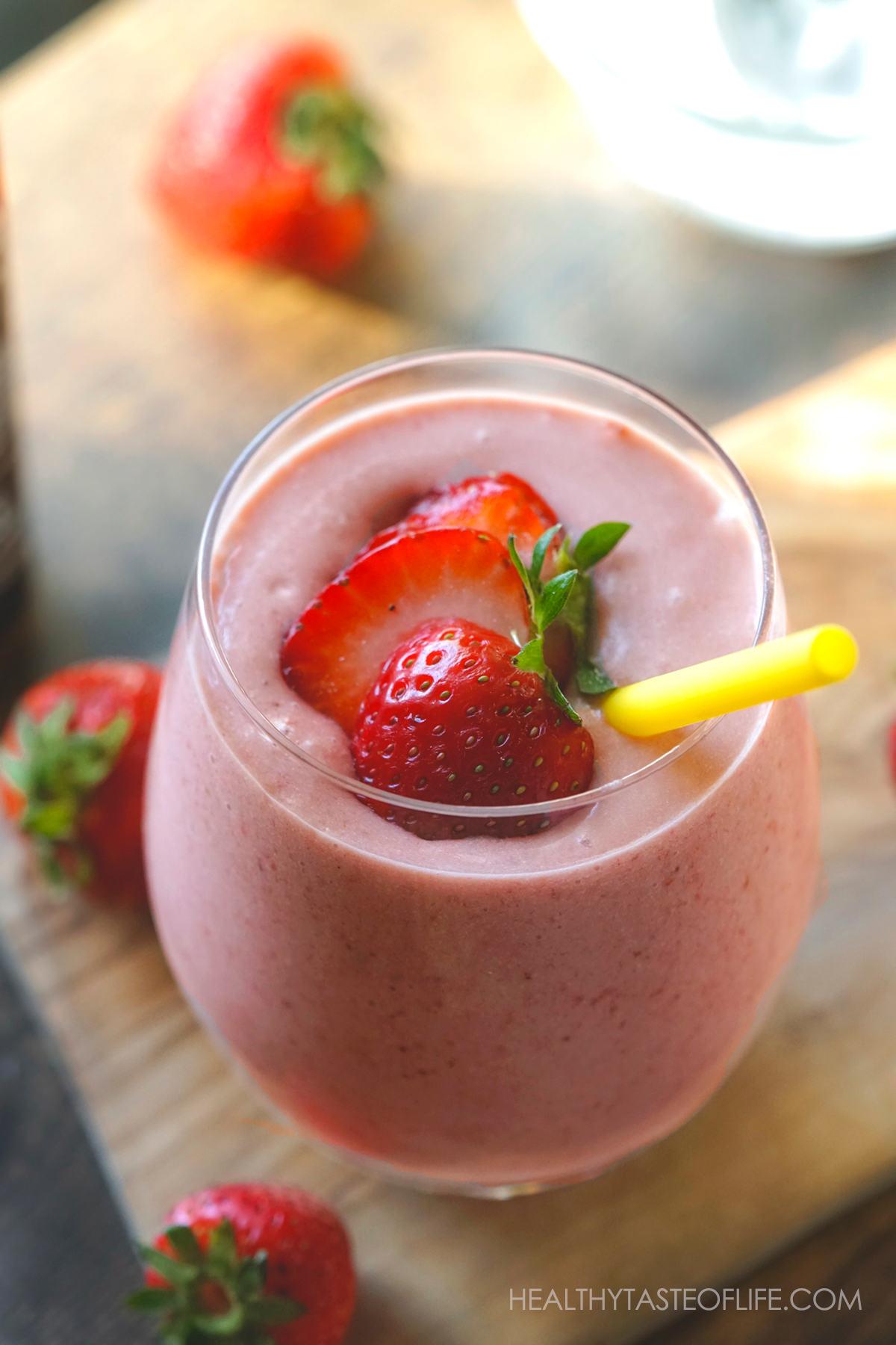 Strawberry banana milkshake dairy free vegan with ice cream.
