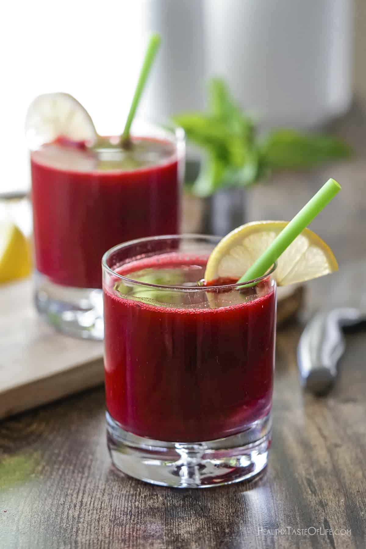 Make homemade fresh beet juice with carrots apple ginger and lemon.