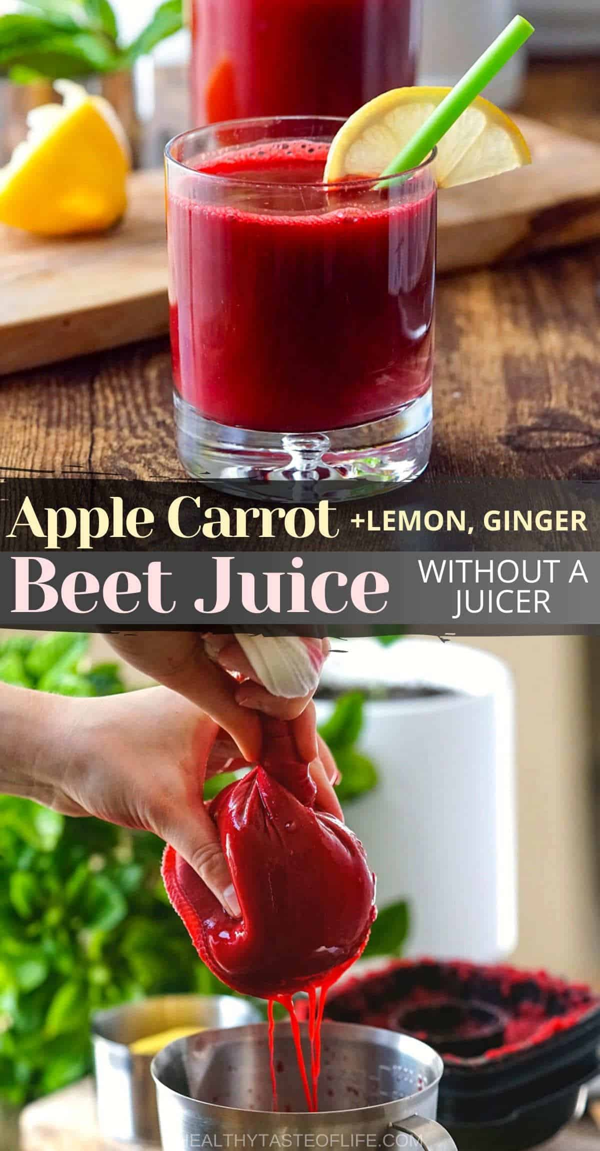 Healthy Homemade Beet juice recipe and benefits for Pinterest.