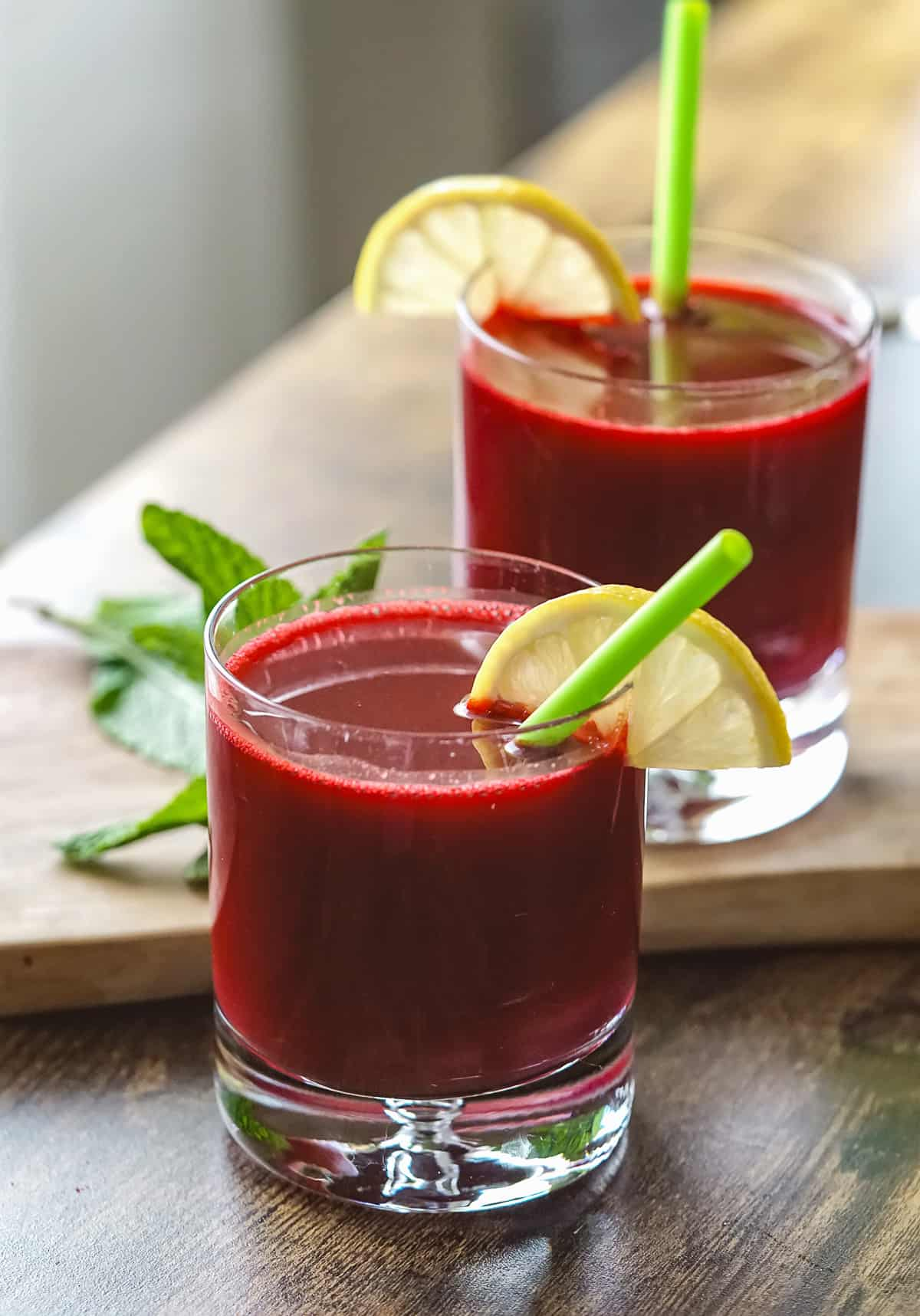 Apple beetroot carrot juice or abc juice in a glass.