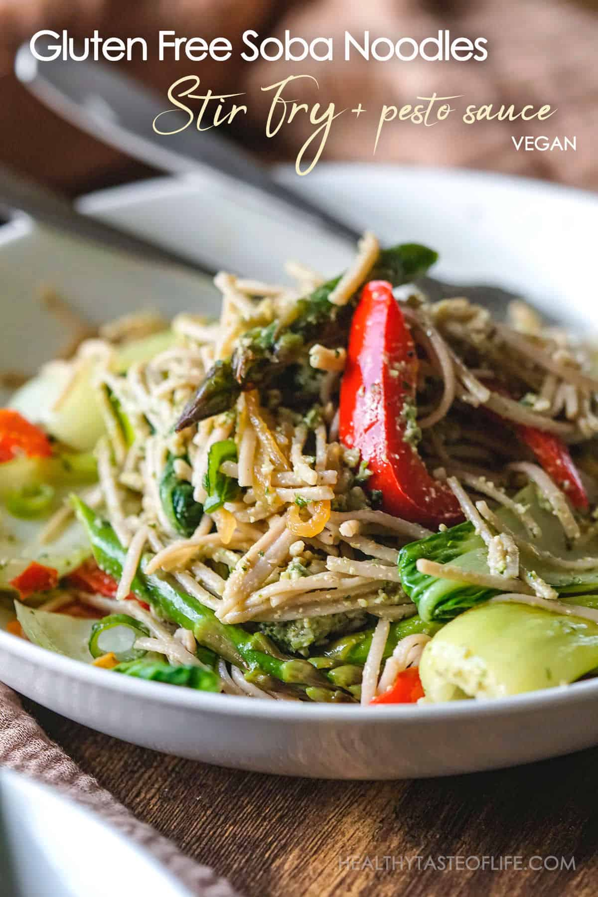 Easy gluten free soba noodles stir fry with basil pesto - simple, quick and can be served hot or cold, it's healthy and full of flavor plus comes together in under 30 minutes.