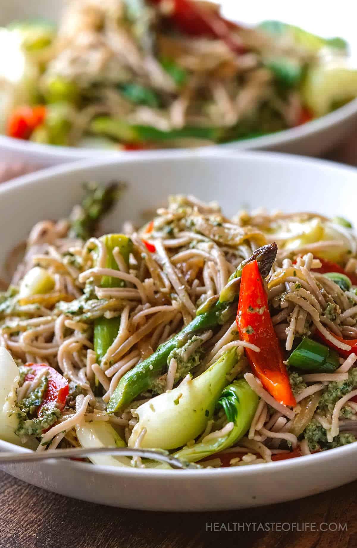 Vegan Gluten Free Soba Noodles Stir Fry With Creamy Basil Pesto Sauce.
