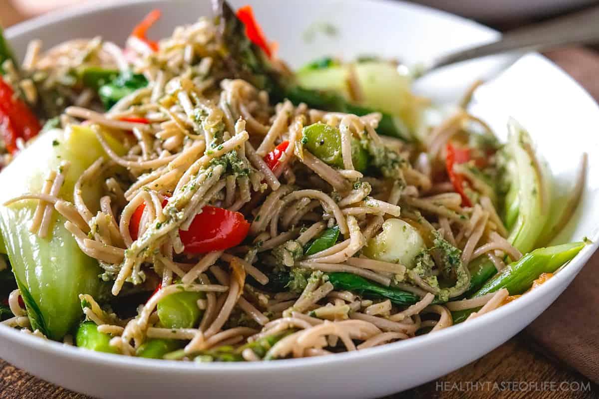 Gluten free buckwheat soba noodles recipe with vegetable stir fry.