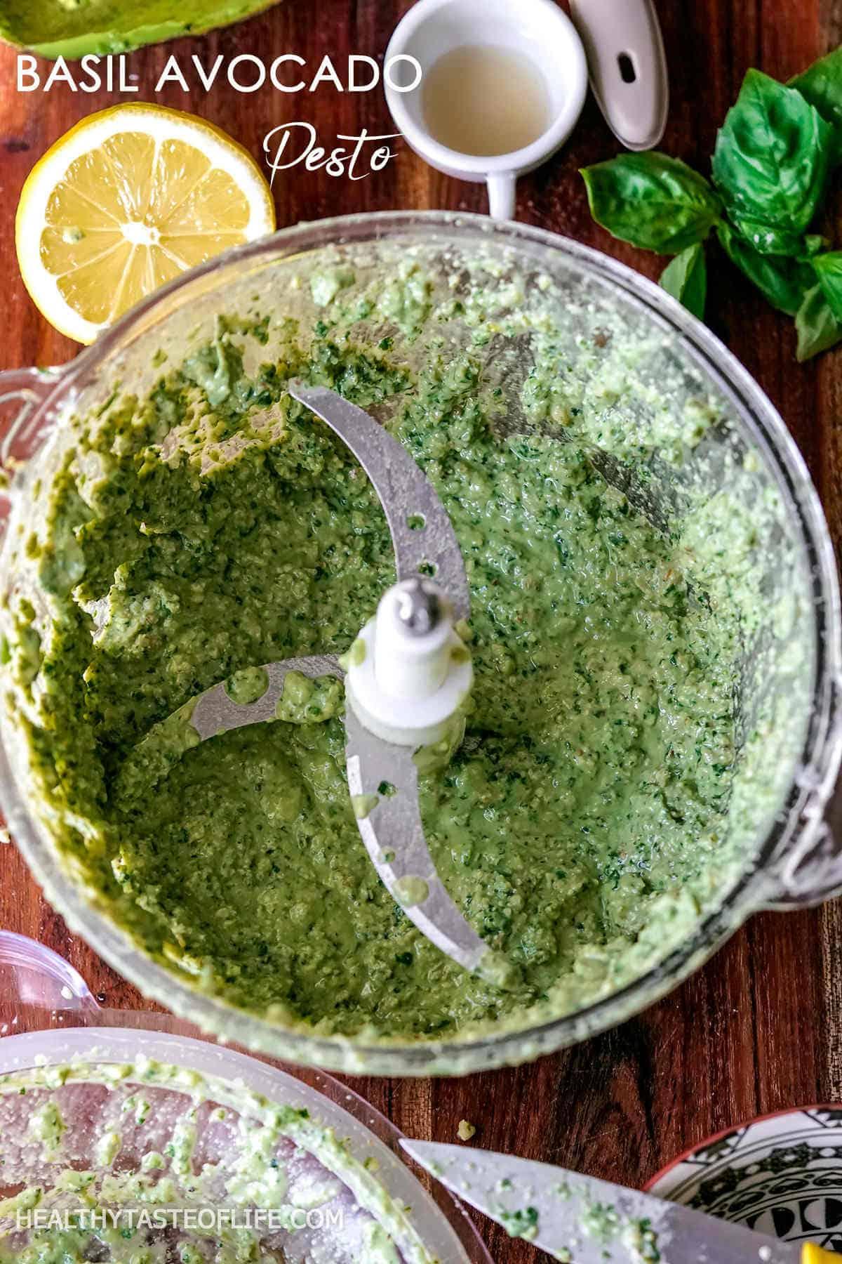 Homemade Healthy Vegan Basil Pesto Recipe with avocado, walnuts, parsley, lemon, garlic, maple syrup and sea salt.