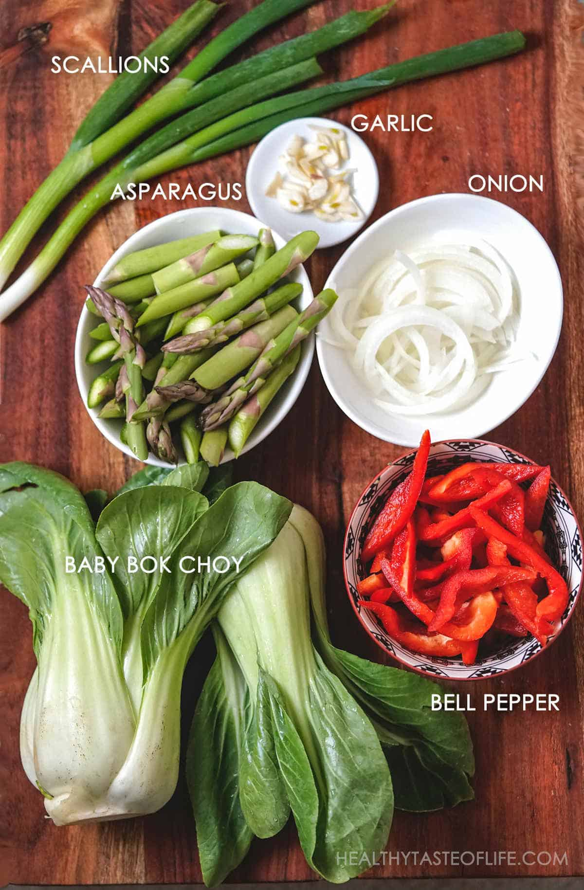 Ingredients for making gluten free soba noodle stir fry.