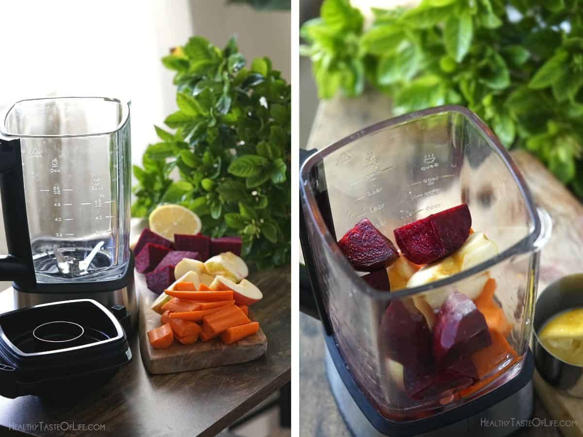 Prepared chopped carrots, apple, beets, lemon and ginger to be mixed in a blender.
