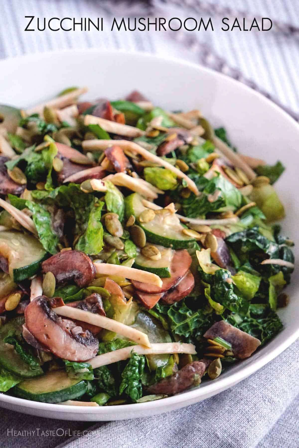 A warm zucchini mushroom salad that featured sautéed zucchini and mushrooms, avocado, raw celery root, greens and pumpkin seeds, all dressed in a simple creamy lemony salad dressing.