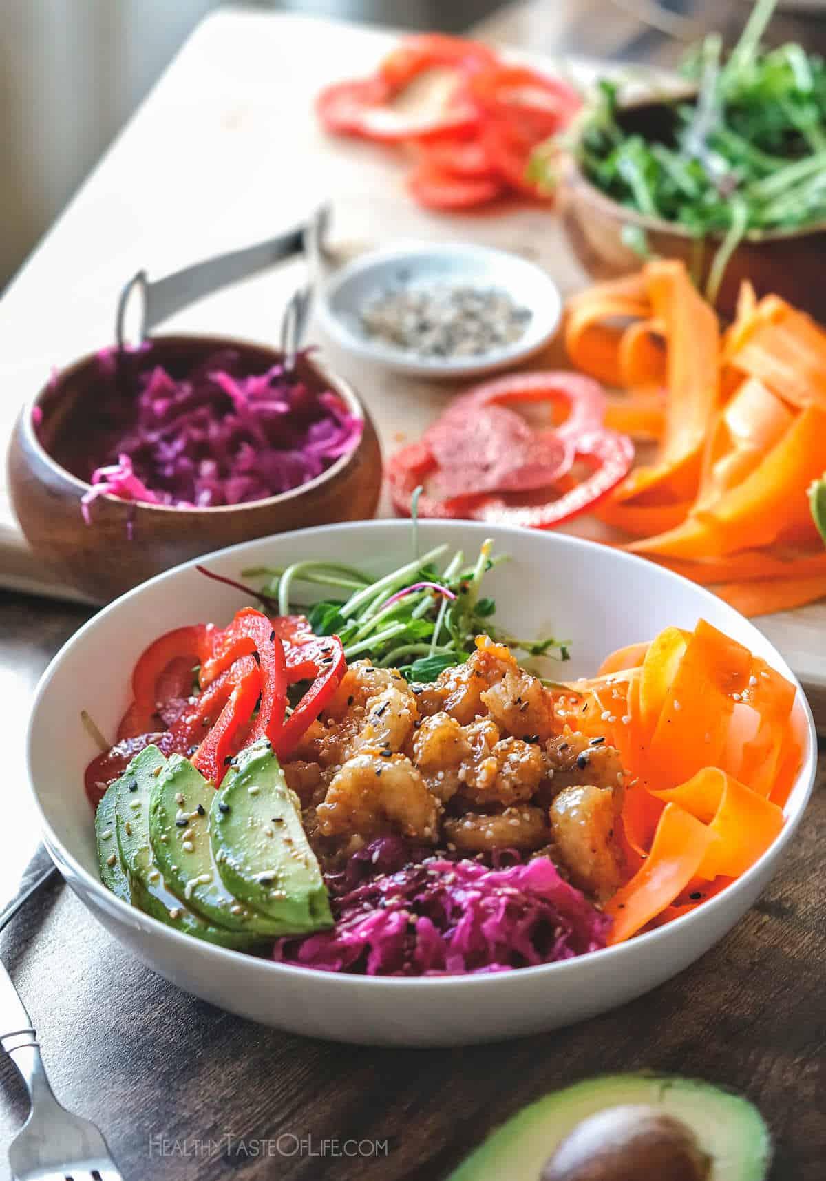 Shrimp poke bowl quinoa poke bowl.