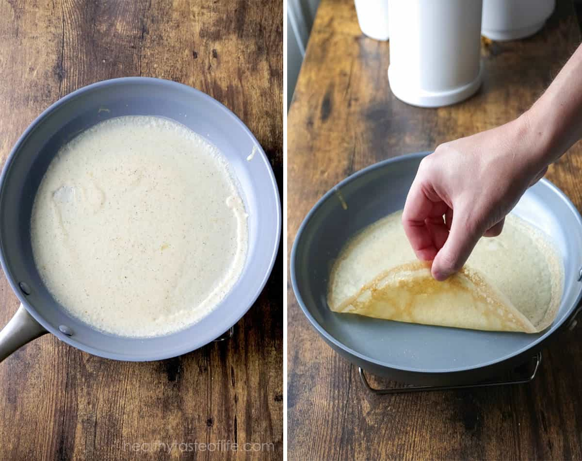 Cooking gluten free crepes in a pan.