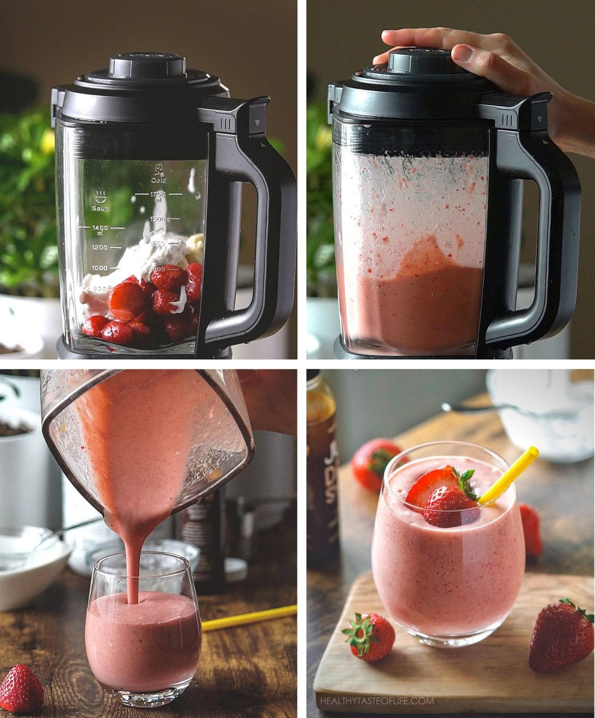 Collage of process shots step by step on how to make a dairy free strawberry banana milkshake.