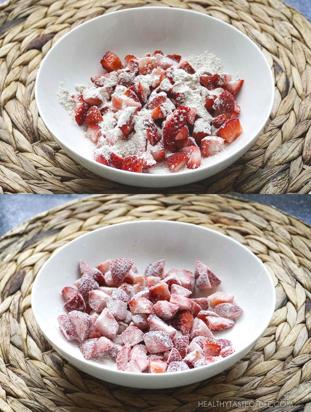 Diced frozen strawberries with gluten free flour.