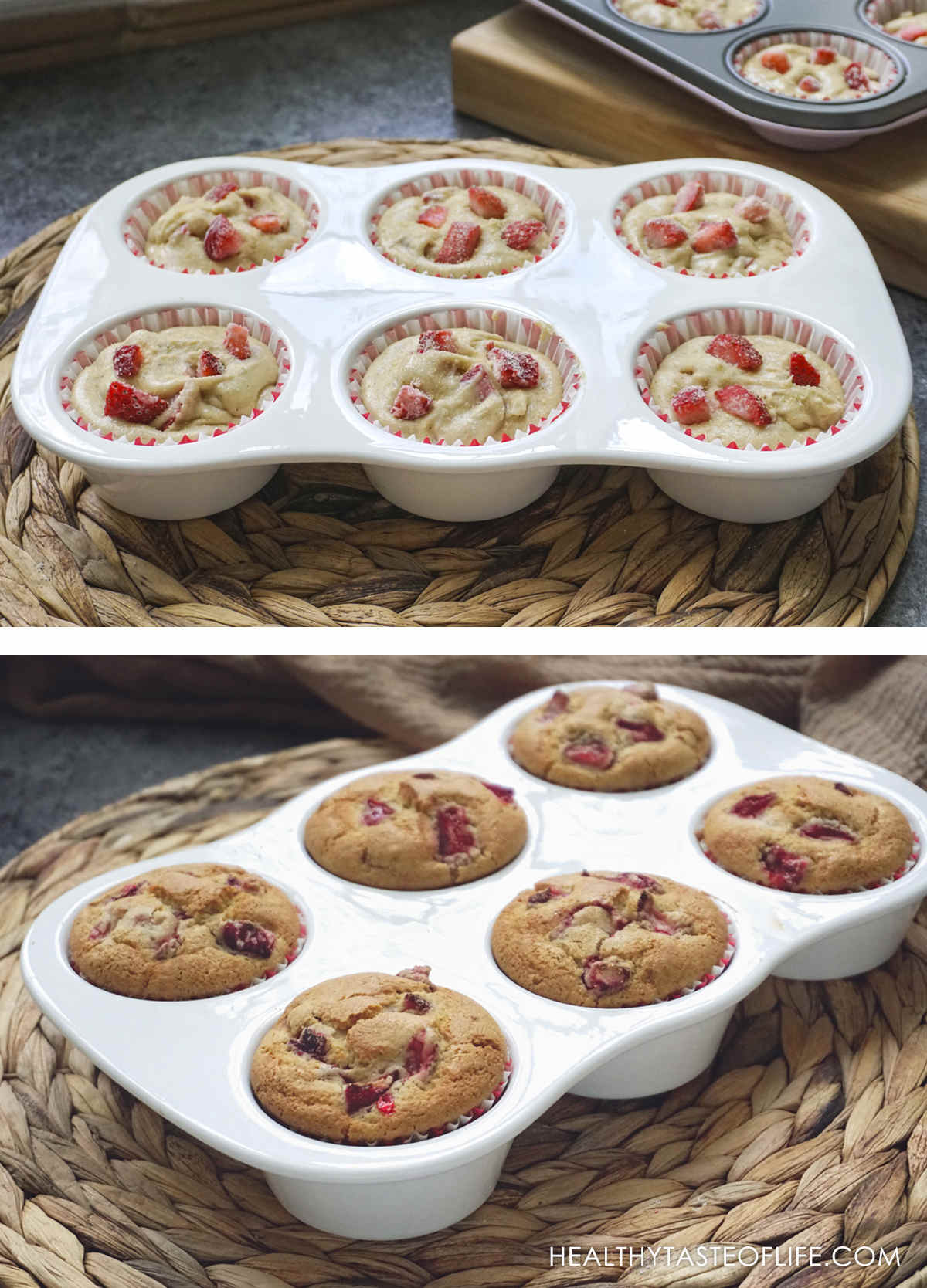 Gluten free strawberry muffin dough in a muffin tin and the baked version below.