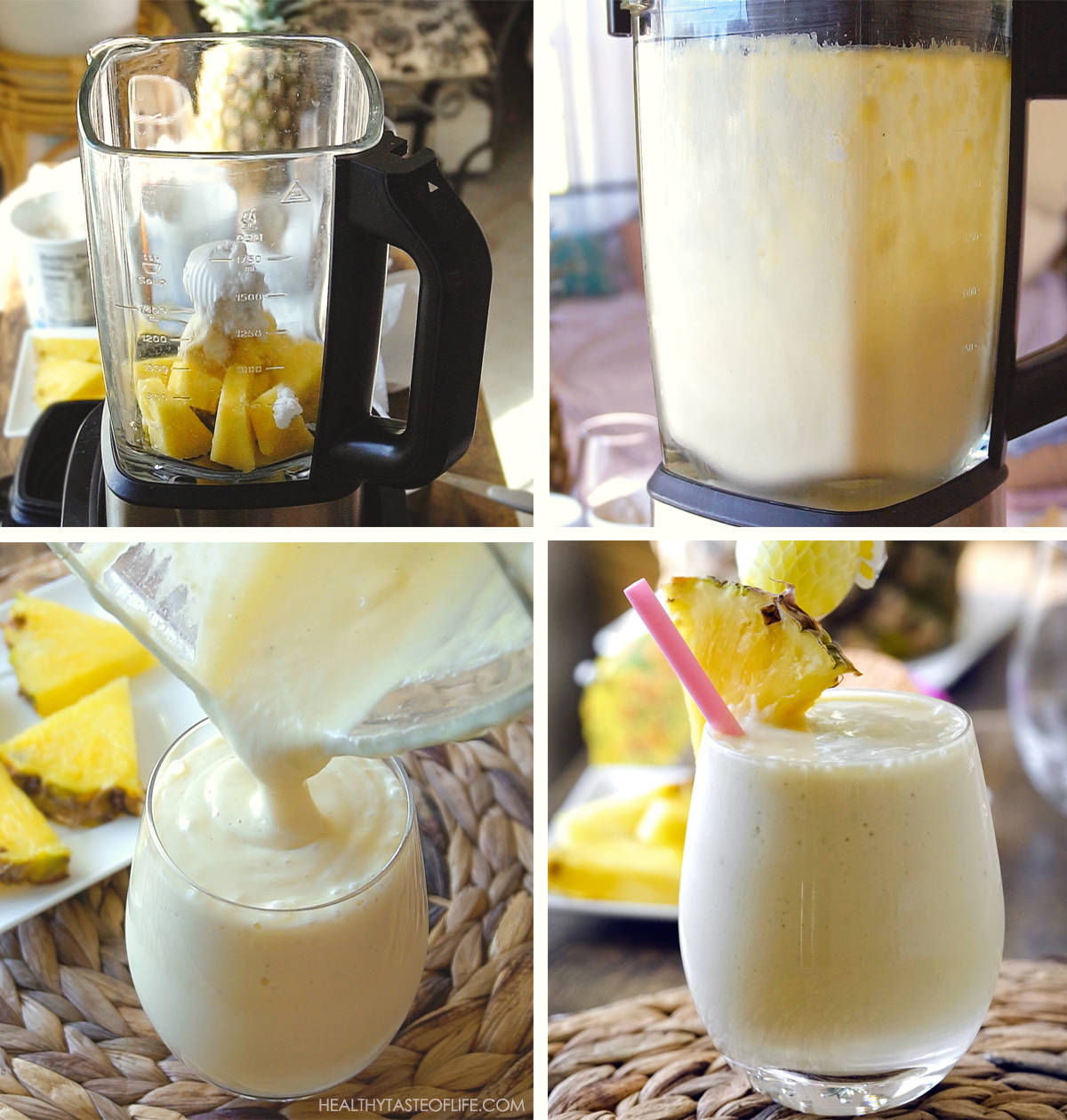 Process shots of pineapple milkshake - how to make pineapple milkshake with coconut cream and ice cream in a blender step by step.