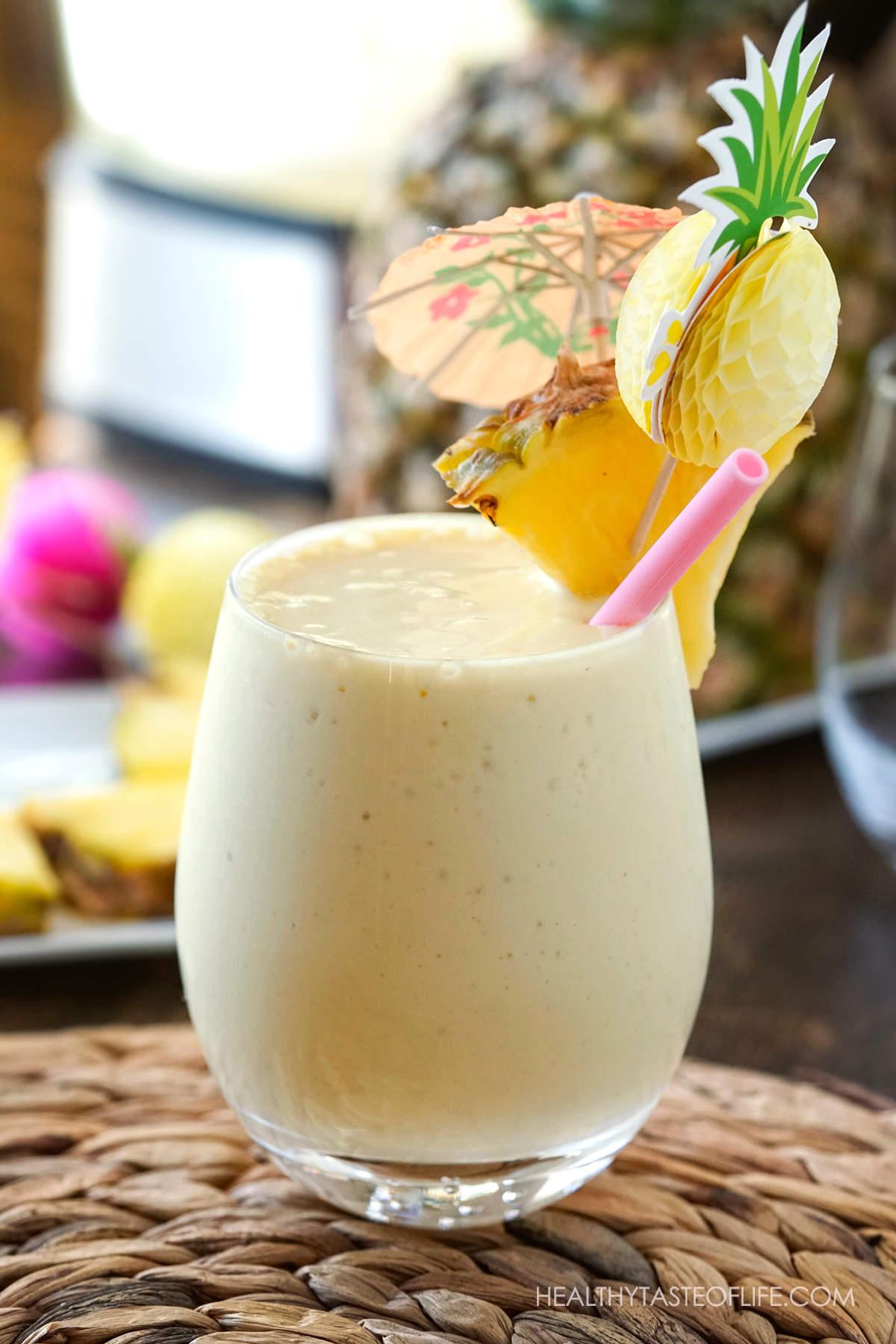 Coconut Milkshake With Pineapple Wedge decorated like pina colada.