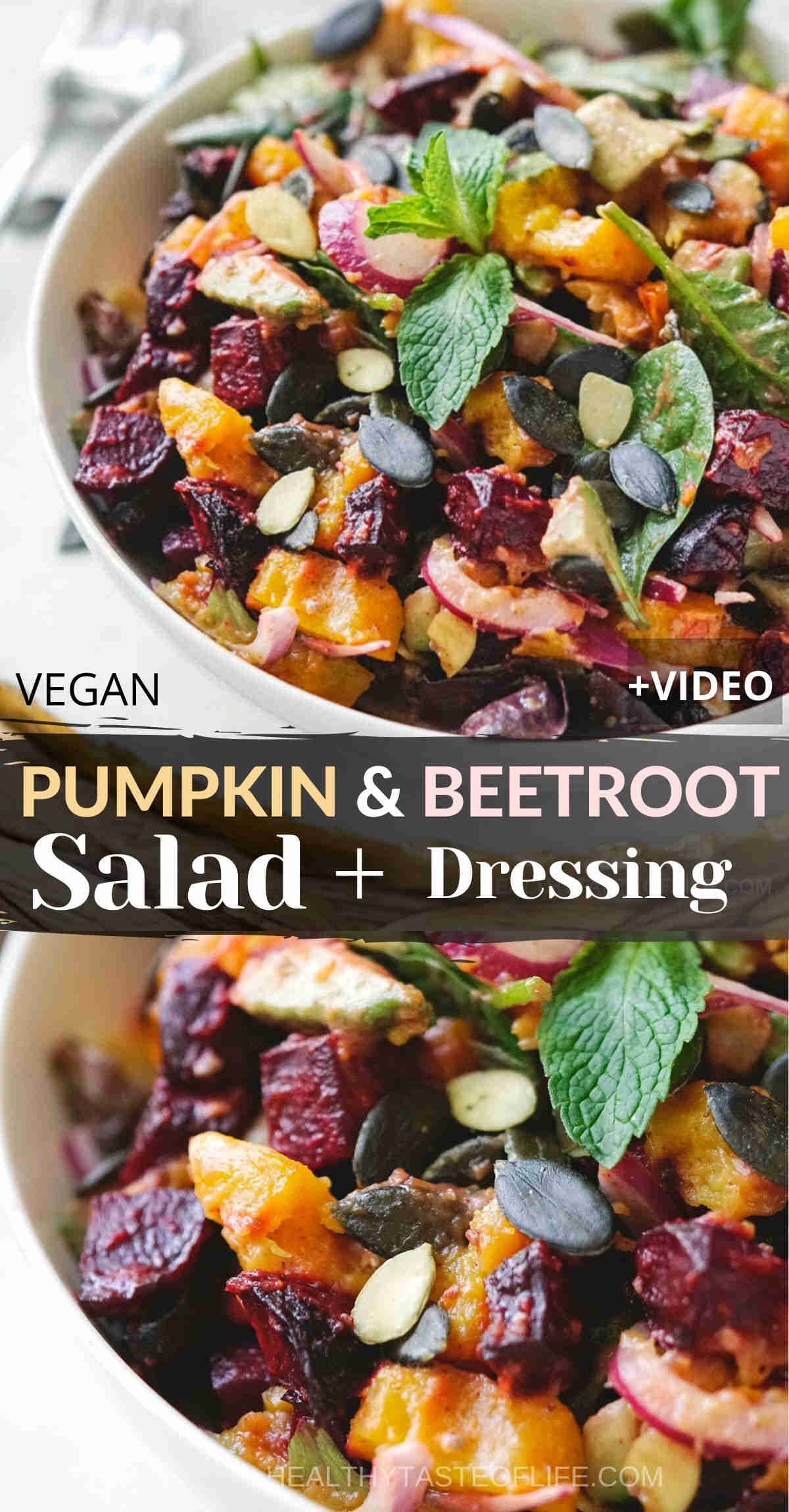 This easy pumpkin and beetroot salad features roasted pumpkin and beets, fresh leafy greens, pumpkin seeds, and a mustard lemon vinaigrette. A beetroot and pumpkin salad that is also gluten free, dairy free, vegan friendly and a perfect vegetarian side dish fit for a holiday table. #beetroot #pumpkin #salad #holiday #sidedish #vegansald #vegetarian #dairyfree