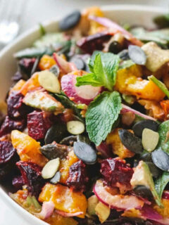 roasted pumpkin and beetroot salad and dressing