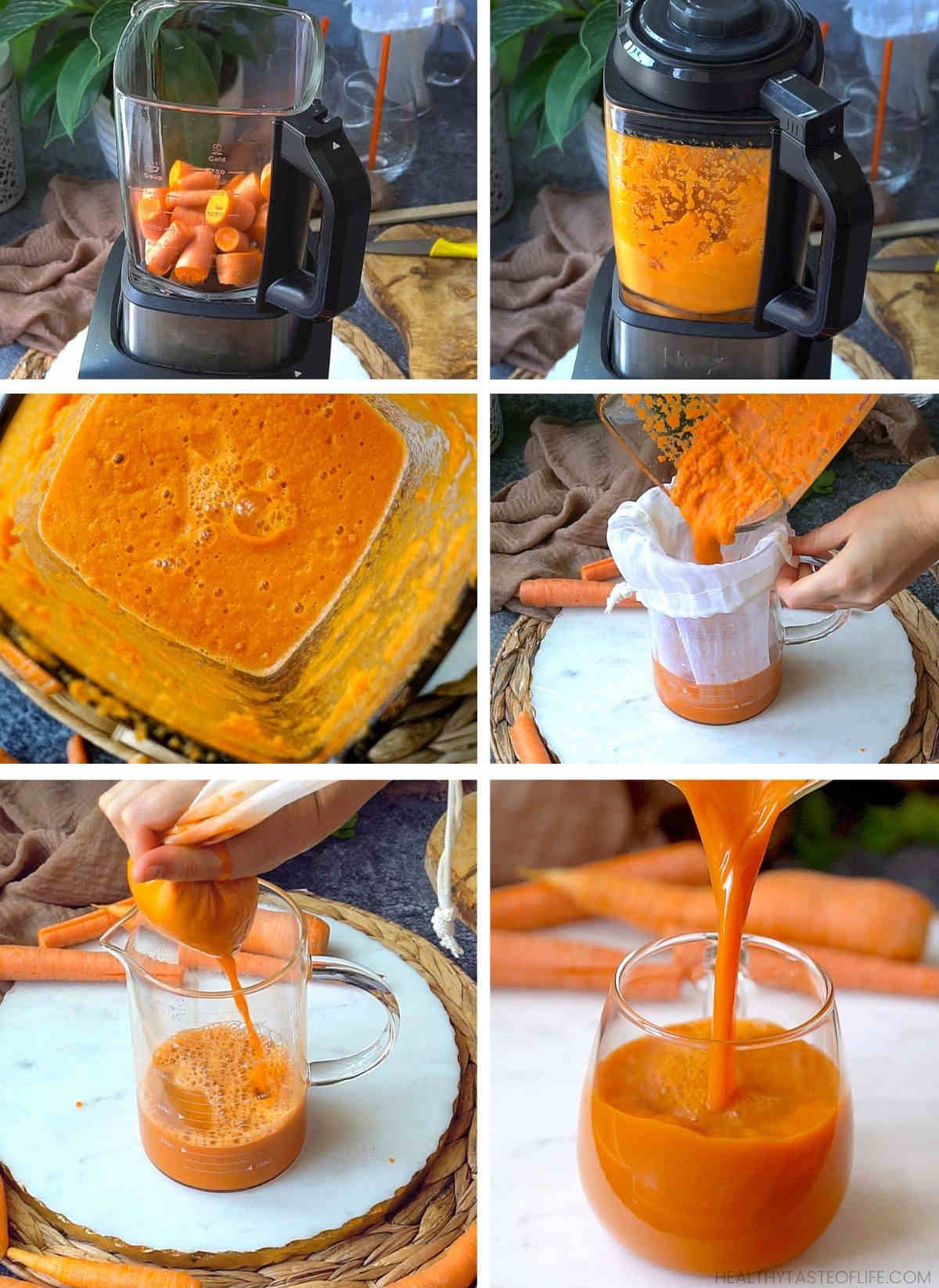 How to make carrot juice without a juicer and how to make carrot juice with a blender.