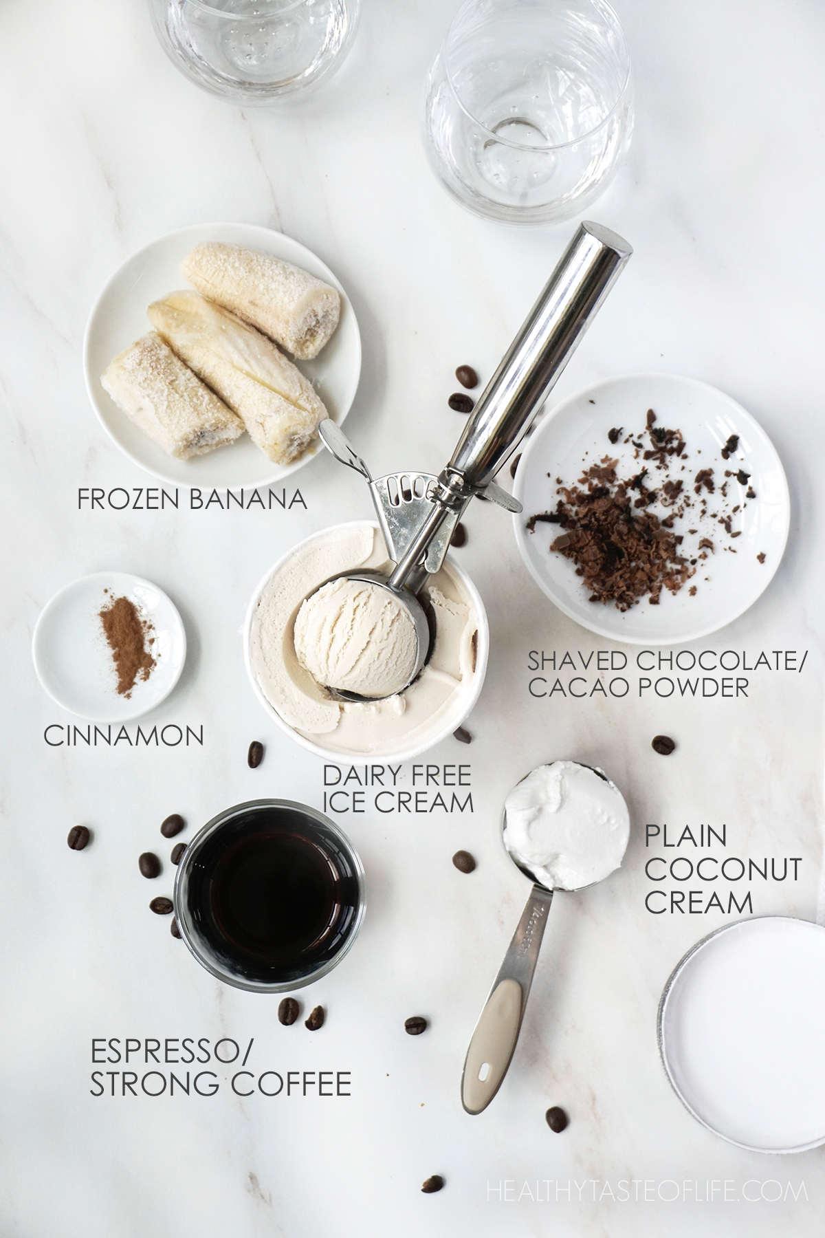 Ingredients for a coffee milkshake vegan dairy free.
