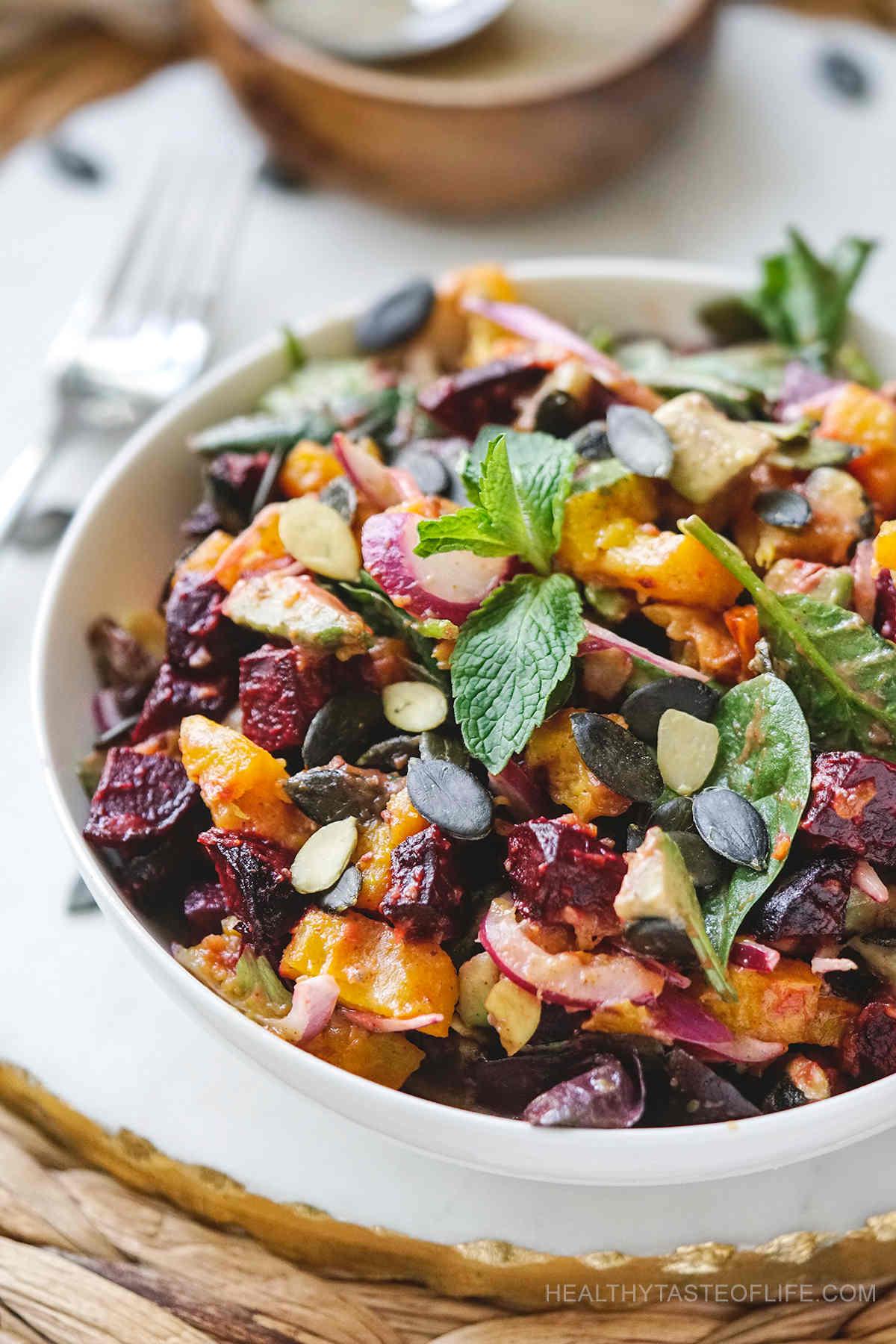 Roast pumpkin beetroot salad recipe, vegan friendly.