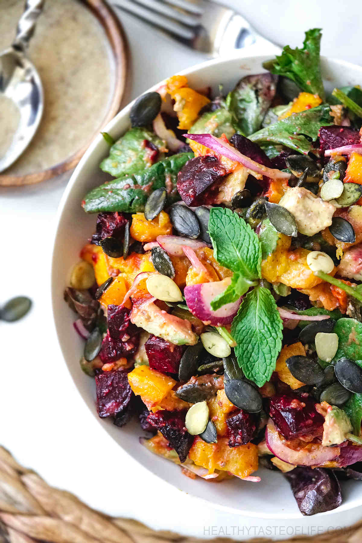 Beetroot and pumpkin salad recipe and dressing (vegan and gluten free).
