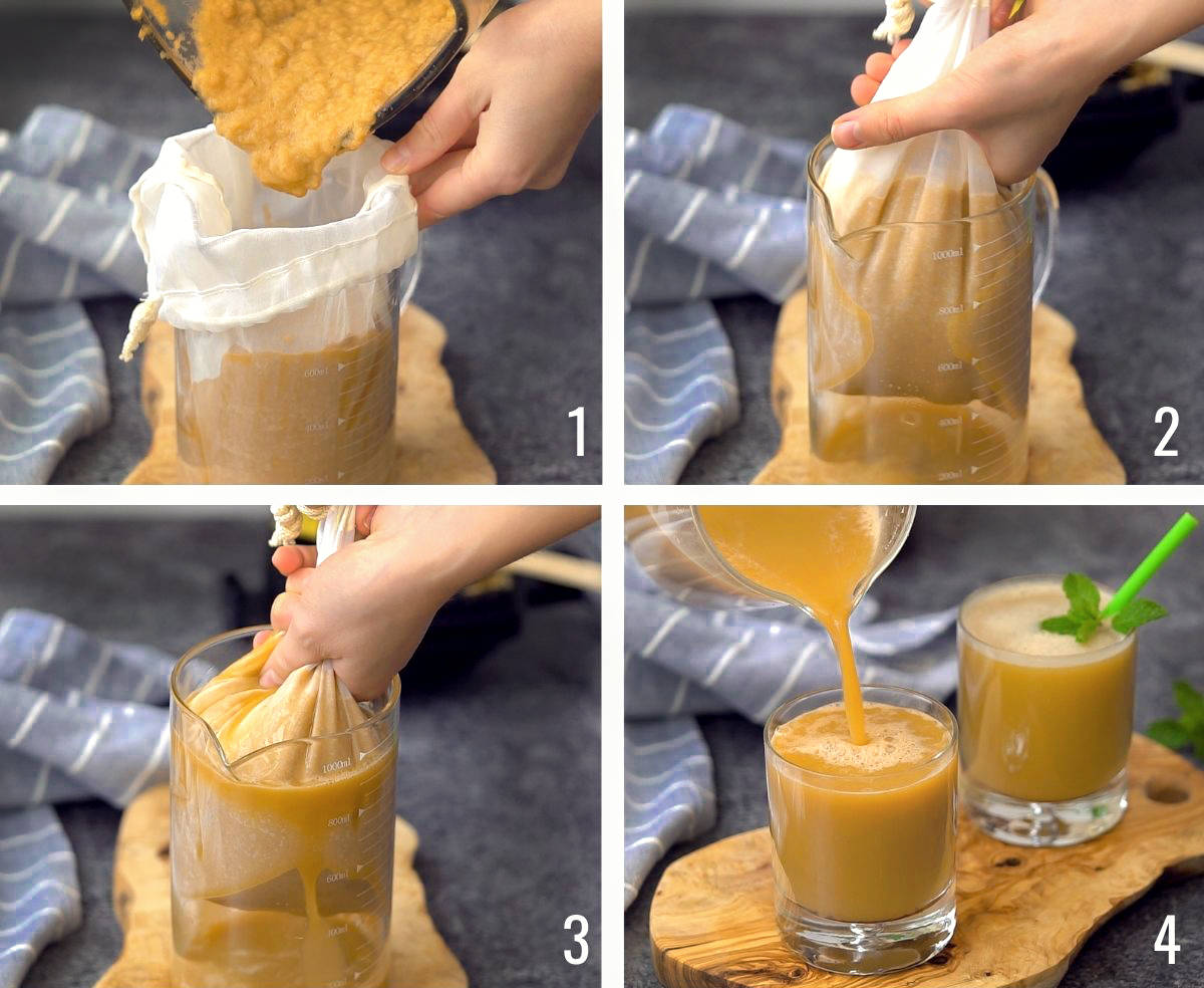 Squeeze cabbage juice through a mesh bag and pour into glass garnished with mint - process shots.