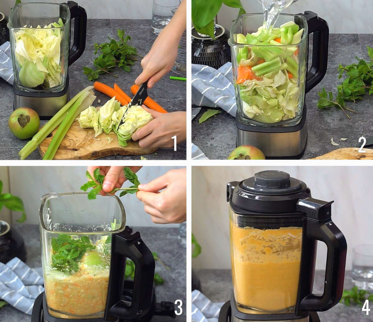 How to make cabbage juice recipe with blender, step by step process shots.
