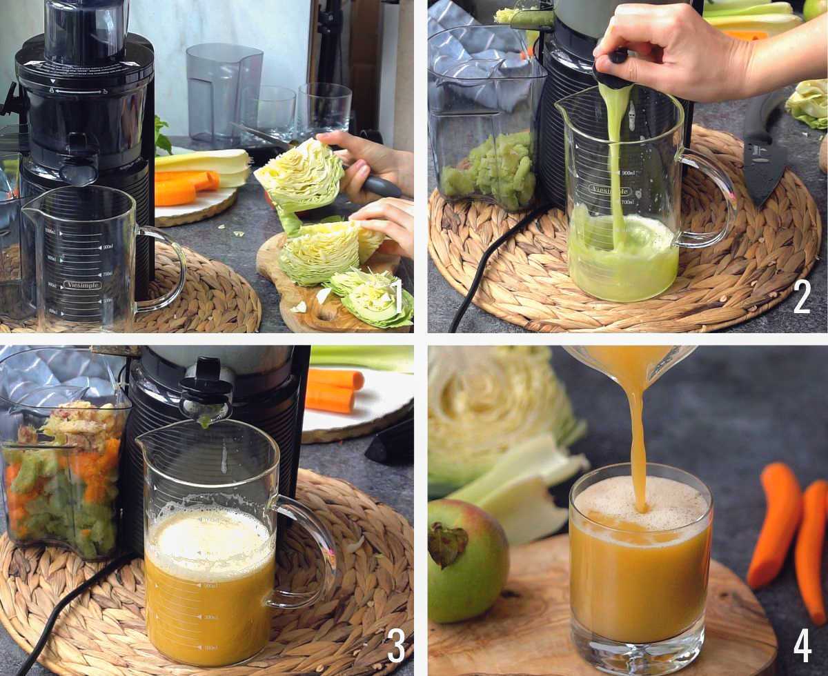 How To make cabbage juice with a juicer - process shots.