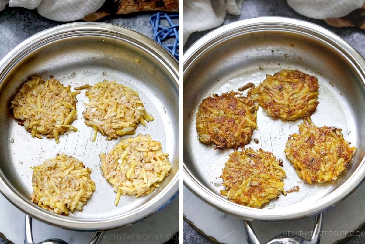 Process shots: how to make potato fritters with crab, the process of frying.